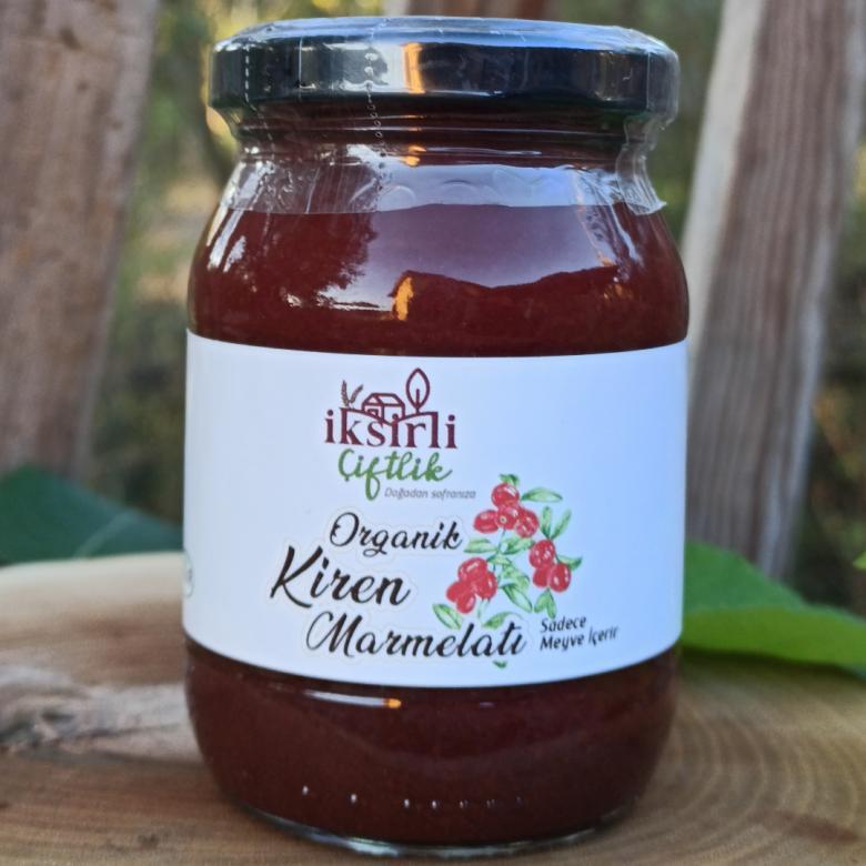 Organik Kiren (Kızılcık) Marmelatı 190 gr. (Sadece meyve püresi içerir)